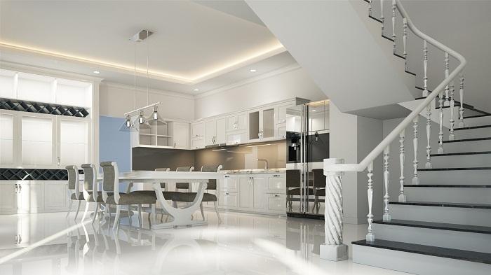 Dizajn kuchyne v bielej farbe